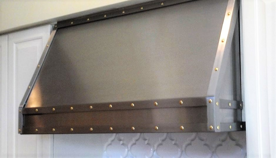Residential Exhaust Hoods Perfection stainless custom hood and vent with band and brass rivets 20